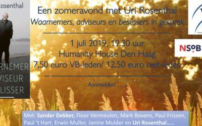 Bijeenkomst | 'Een zomeravond met Uri Rosenthal'  | 1 juli